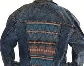 vintage  80s 90s LEVi'S levis AZTEC Southwest diy Denim JACKET