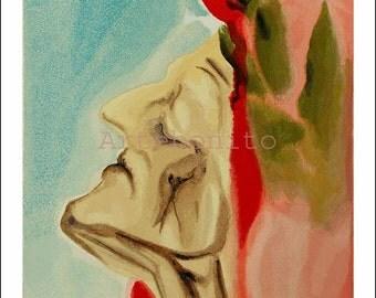 """Dali Woodcut """"Paradise 7 -Dante's new doubt""""    suite Divine Comedy"""