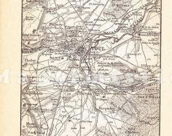 1898 Toul France and its Surroundings at the end of the 19th Century Antique Map Print