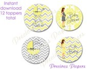 Digital gray and yellow chevron baby shower Cupcake Toppers Instant Download stroller yellow baby shower cupcake toppers