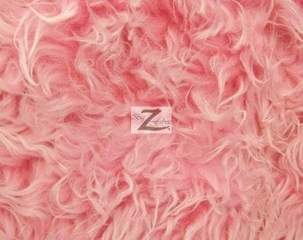 """Faux Fake Fur Java Frosted Mongolian Long Pile Fabric - HOT PINK/WHITE - 60"""" Width Sold By The Yard"""