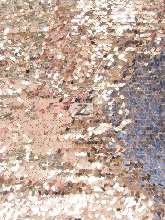 Drop Sequin Fabric SILVER Sold By The Yard 50 Width
