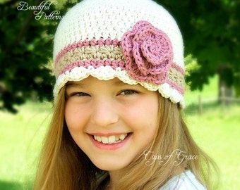 Crochet Hat Pattern Girl Flapper Beanie Hat with Rose PDF 100 Newborn to Adult  Photography Prop Instant Download