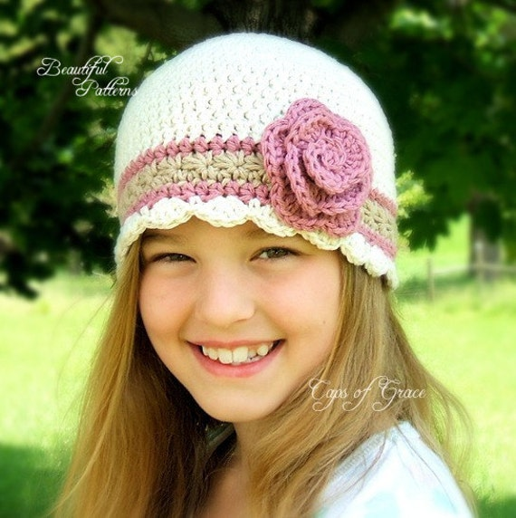 Crochet Rose Pattern For Hat : Crochet Hat Pattern Girl Flapper Beanie Hat with Rose PDF 100