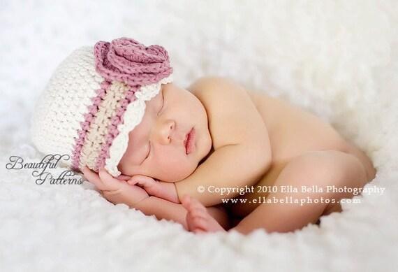 Crochet Flower Pattern For Newborn Hat : Crochet Hat Pattern Baby Crochet Hat Flower Flapper Hat with