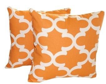 "Orange THROW PILLOW. Orange Pillow Covers. Two 18"" x 18 "".  Decorative Pillow  Home Decor  Fabric front & back - Accent Pillow  Decorative"