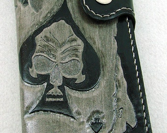 Cow leather wallet style biker cards with skull