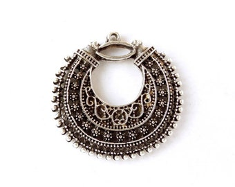 1 Oxidized Silver Textured Pendant Connector Charm - 21-53-4