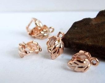 5 Rose Gold Plated Leaf Pinch Bails - 16-RG-5