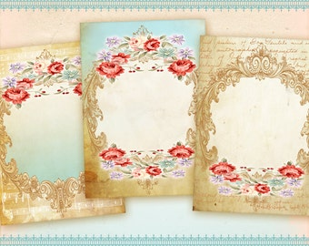 Digital greeting cards Gift tags Digital backgrounds on Digital Collage Sheet best for jewelry holders, paper craft supplies - LOVELY FRAMES