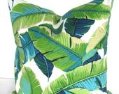 PILLOWS Turquoise Lime green Indoor Outdoor Decorative Throw Pillows 16x16 18 20 Teal Blue Outdoor pillow covers  Aqua Palm Leaves Tropical