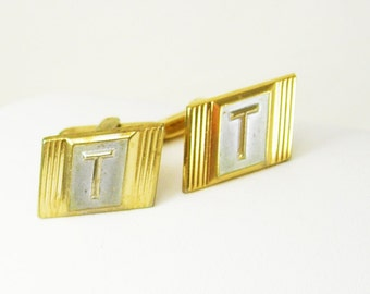 Initial T Hickok Cufflinks Vintage Two Tone Business anniversary Birthday