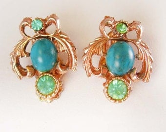 Whimsical Copper Plate Owl Earrings Vintage Faux Turquoise Jeweled Clip On Fashionable bird figural costume jewelry