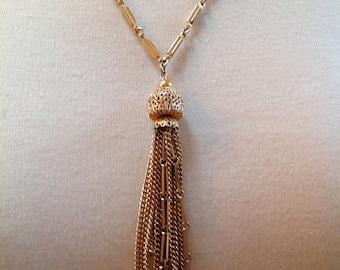 Signed Kramer Gold Tone Metal Chain Tassel Necklace
