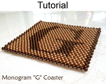 Beading Tutorial Pattern - Coaster Home Decor - Simple Bead Patterns - Monogram G Coaster #925