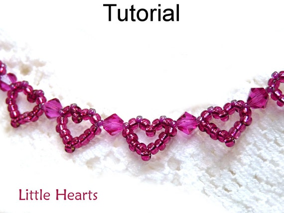 Beading Tutorial Pattern Bracelet - Beaded Heart Jewelry - Simple Bead Patterns - Little Hearts #1159