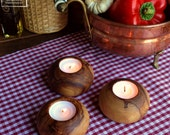 3 x round wooden candle holders and out of olive wood - olivewood tea light
