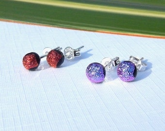 Stud Earrings - Fused Glass Jewelry - Dichroic Jewelry - Tiny Glass Post Earrings on 925 Sterling Silver
