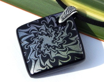 Dichroic Jewelry - Fused Glass Pendant - Abstract Glass Square Necklace