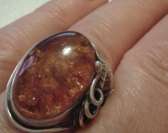 Vintage Hand-Crafted Art Nouveau-Style Amber Silver Ring