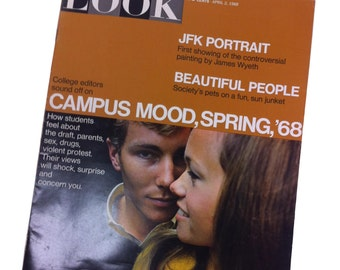 Vintage LOOK Magazine 1968 CAMPUS Mood Spring Great condition