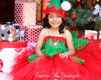 Christmas Elf. Santa's little helper Tutu Dress and Embroidered Felt Hat. Great for costume, Holiday photos, mini sessions and more