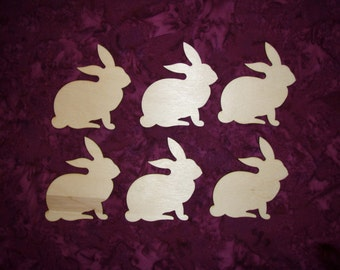 Easter Bunny Wood Cut Out Unfinished Wooden Rabbit Shapes 6 Pieces