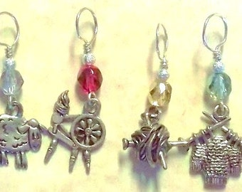 sheep to shawl, gold or silver Christmas sparklers no snag knitting stitch marker, set of 4, pewter charms