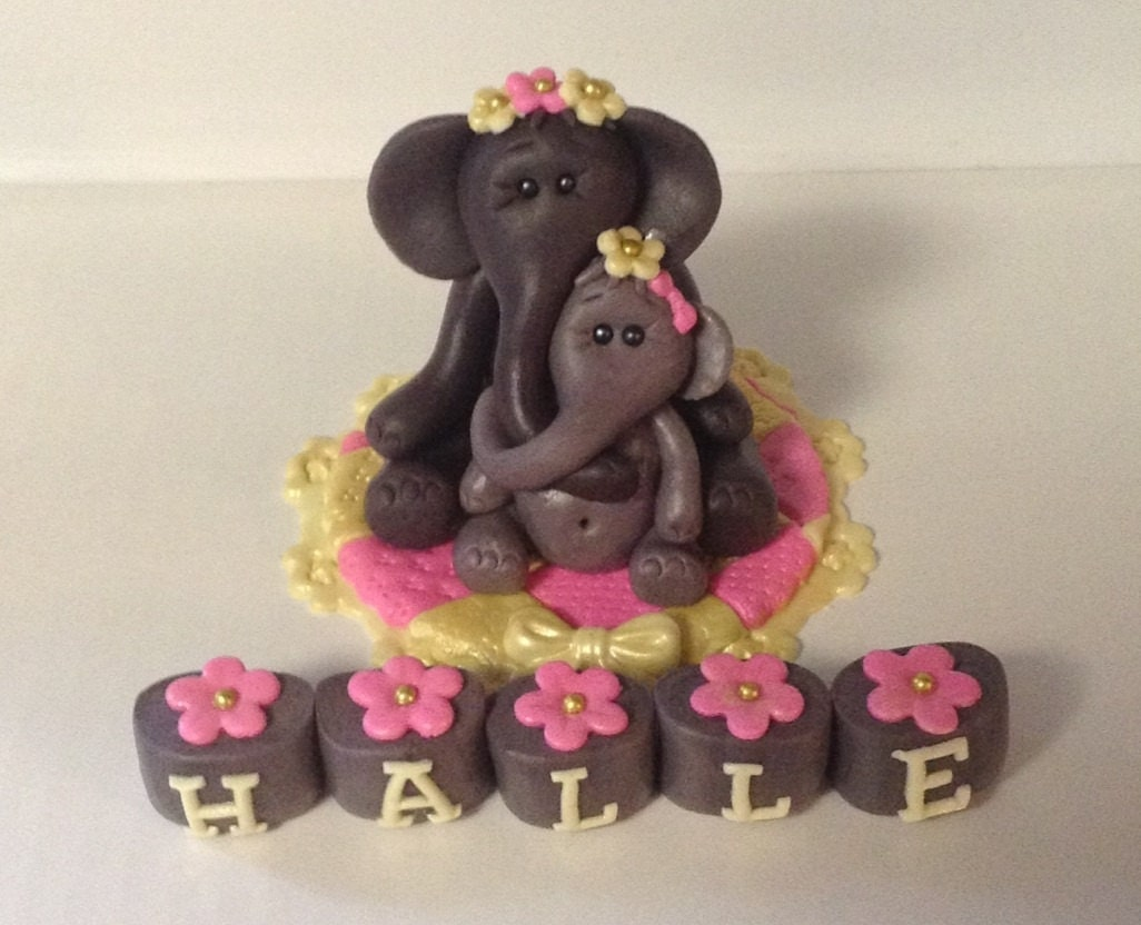 Edible Elephant Cake Decorations : ELEPHANT BABY SHOWER Edible Fondant Cake topper Mama and Baby