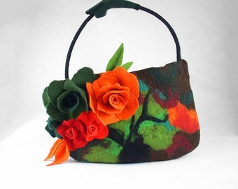 Felted Bag Flower Purse Nunofelt Bag Art Handbag Art bag Felt Nuno felt Silk red ruby tangerine fairy floral fantasy shoulder bag Fiber Art
