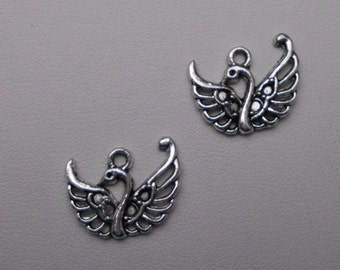 Silver Double Swan Charms