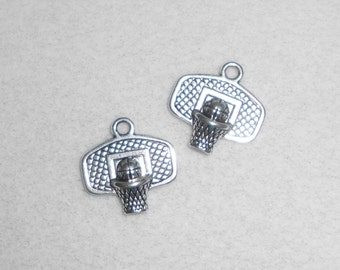 Silver Sports Basketball  Hoop Charms