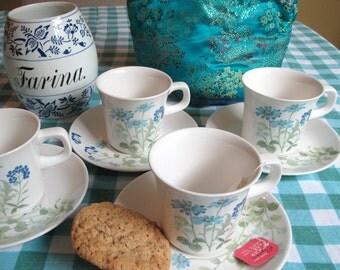 """Noritake Tea Mugs and Saucers, Craftone """"Joy"""" Pattern, Set of 4"""