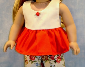 Red and Yellow Floral Shorts Set made to fit 18 inch dolls