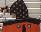 Handmade Primitive Witchy Pumpkin Door Decoration