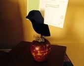 Primitive Handmade Wood Crow on Apple Recipe Card Holder
