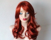 Halloween Special // Auburn wig. Medium length, wavy hair, long side bangs, natural style, high quality synthetic, red wig.
