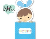 Witee DIY Light Brown Hair Boy Easter Basket + free gift tags (printable PDF, customizable, editable, digital file) - for Easter goodies