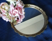 Round Mid Century Mirrored Vanity Tray with Gold Tone Scalloped Filigree Reticulated Edge - Lovely