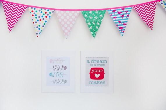"Teal/pink Retro ""A dream is a wish your heart makes"" Nursery decor, Nursery Wall quote, printable nursery art, nursery print, 8x10"" PDF"