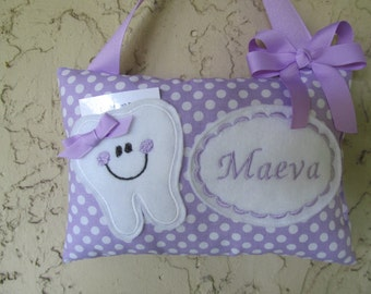 Tooth Fairy Pillow Polka Dot Lavender Purple