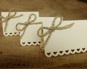 Wedding Place Cards (Set of 50) - Escort Cards - Name Tags - Rustic Shabby Chic - Hearts - Love - Bows - Cream