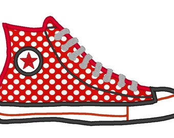 Chuck Taylor Converse Canvas Shoe APPLIQUE. Instant Download Machine Embroidery Design Digitized File