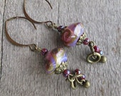 Orchid Purple Lampwork Earrings with Brass and Czech Striped Seed Beads
