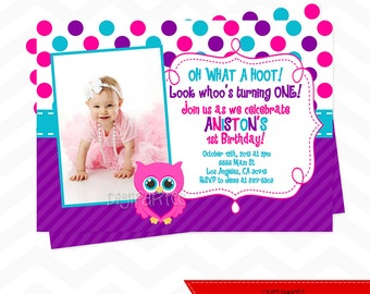 Girl Owl Birthday Invitation