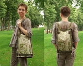 "Unique textile backpack-bag transformer, batik embroidered ""Oregano"" beige, green, purple colors"