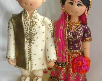 Personalised Asian Indian Sikh Hindu Pakistani Muslim Bride & Groom Ethnic wedding cake topper