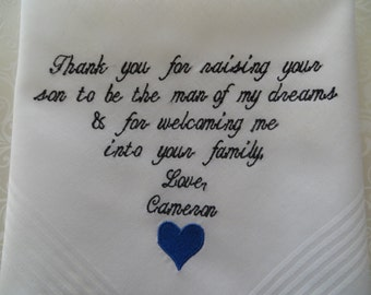 Wedding Gift For Father or Mother In Law of the Bride Mom Gift Idea Wedding Handkerchief Bride Gift Daughter Bridal Gift For Mom or Dad Gift