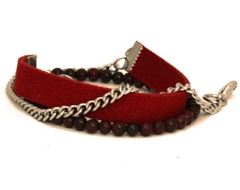 Vegan Suede Wrap Bracelet with Chain and Beads