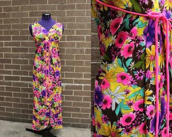 Tulip Hem 1960s Hawaiian Print Bright Neon Maxi Gown Sleeveless Dress Sz Small/Med